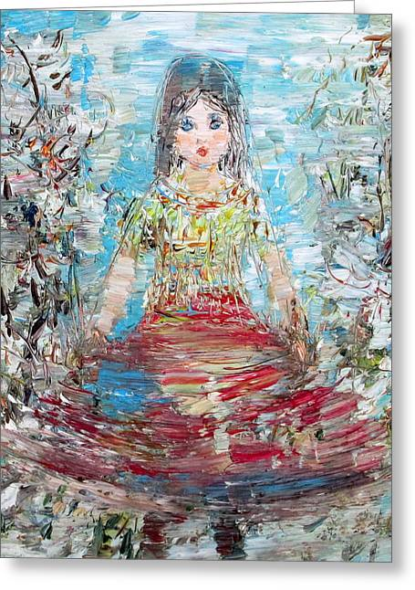 Full Skirt Paintings Greeting Cards - Little Lady Greeting Card by Fabrizio Cassetta