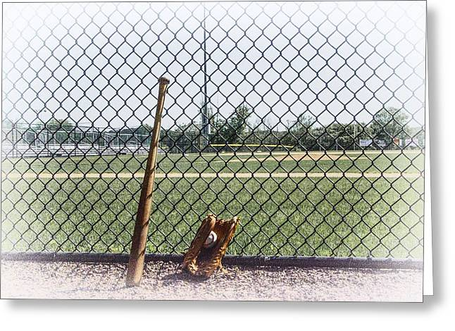 Baseball Fields Digital Art Greeting Cards - Little League - Faded Memories Greeting Card by Bill Cannon