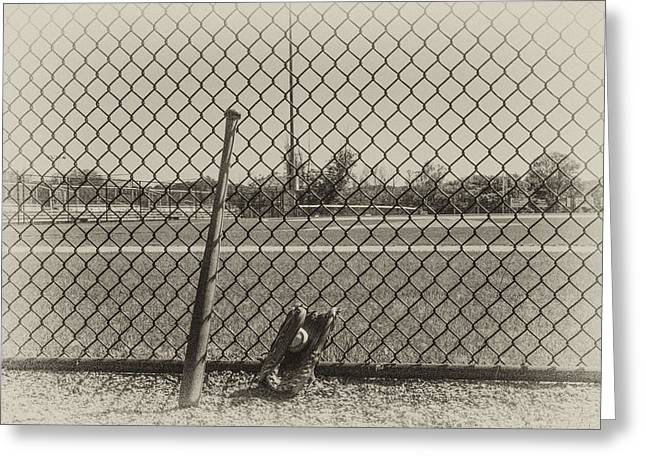 Baseball Fields Digital Art Greeting Cards - Little League in Sepia Greeting Card by Bill Cannon