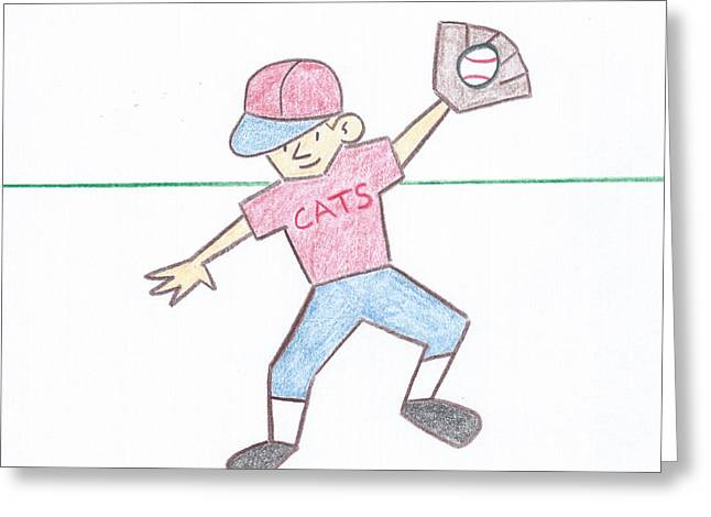 Actions Pastels Greeting Cards - Little League Greeting Card by John Signorino