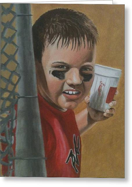 Little League Drawings Greeting Cards - Little League Logan Greeting Card by Logan Cobb