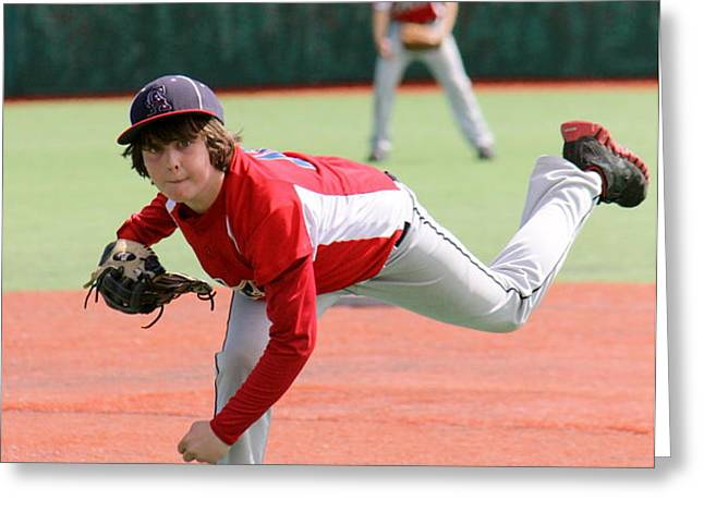 Little League Pitcher Greeting Card by Lisa Billingsley