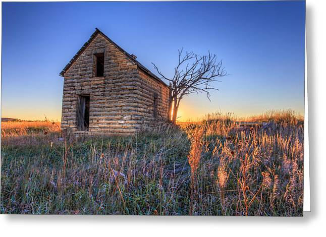 Stone House Greeting Cards - Little Limestone House on the Prairie Greeting Card by Jill Van Doren Rolo