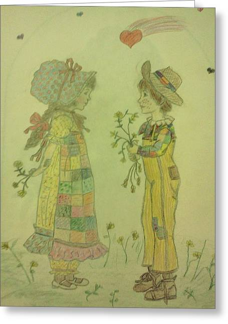 First Love Drawings Greeting Cards - Little Love on the Prairie Greeting Card by Christy Saunders Church