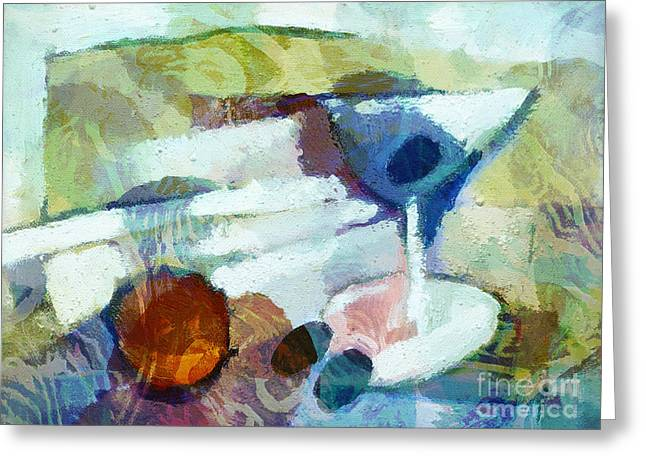 Impressionist Greeting Cards - Little Martini Impasto Greeting Card by Lutz Baar