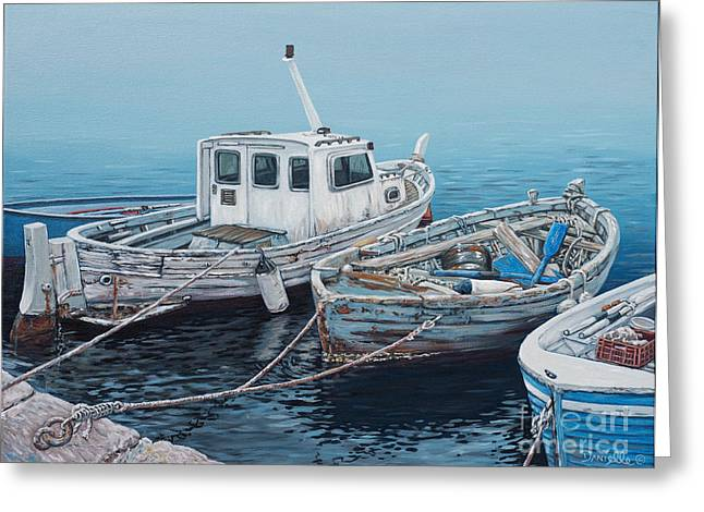 Docked Boats Greeting Cards - Little Med Boats Greeting Card by Danielle  Perry