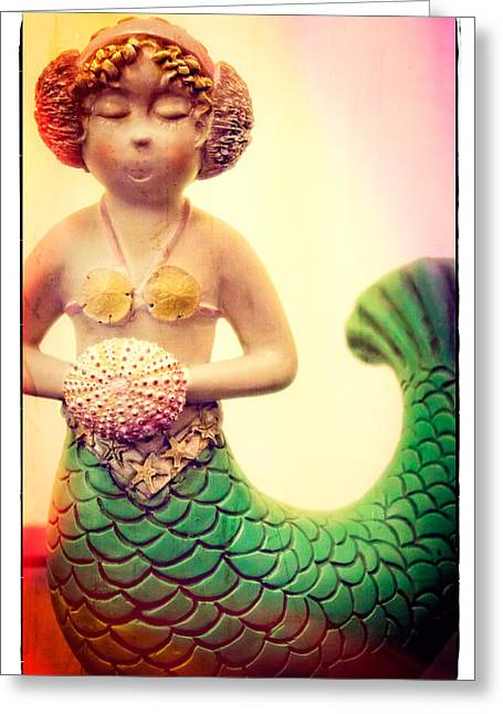 Shell Texture Greeting Cards - Little Mermaid Greeting Card by Colleen Kammerer
