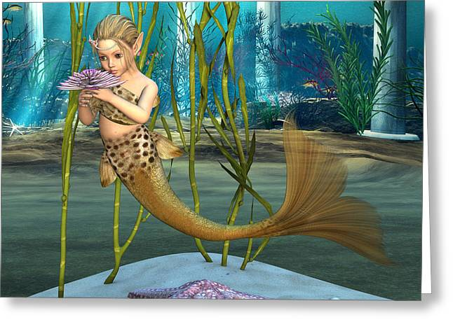 Little Mermaid Holding Anemone Flower Greeting Card by Design Windmill