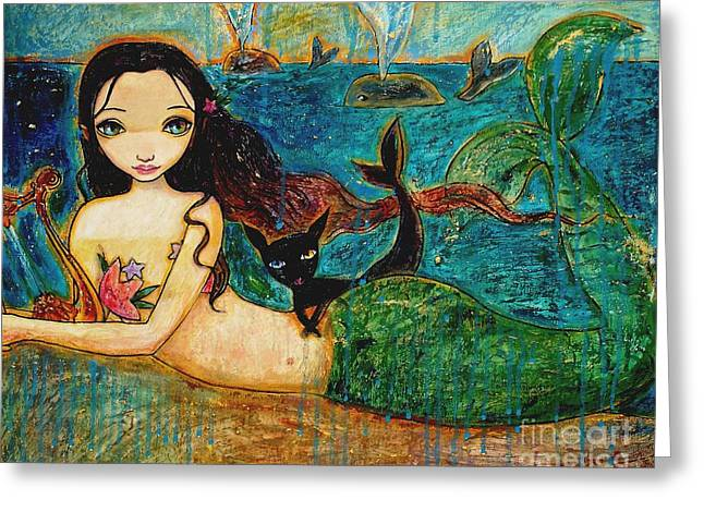 Fairy Tale Mixed Media Greeting Cards - Little Mermaid Greeting Card by Shijun Munns