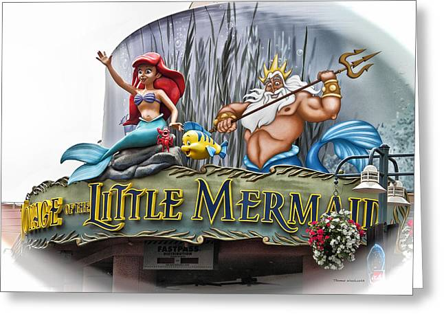 World Showcase Lagoon Greeting Cards - Little Mermaid Signage Greeting Card by Thomas Woolworth