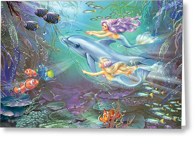 Magical Greeting Cards - Little Mermaids And Dolphin Greeting Card by Zorina Baldescu