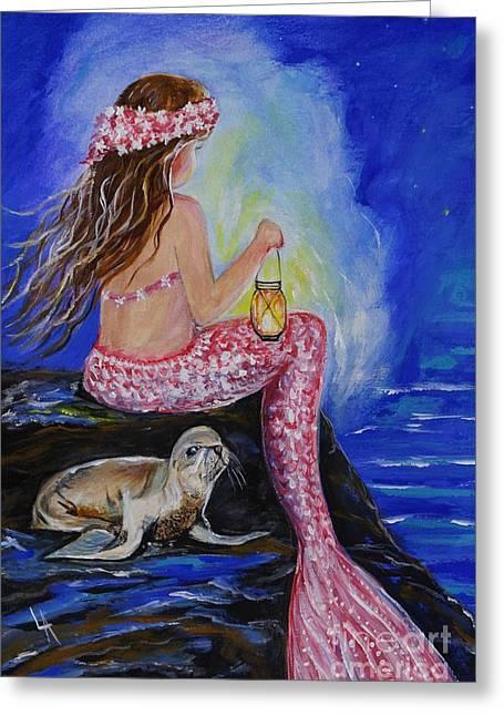 Recently Sold -  - Sea Lions Greeting Cards - Little Mermaids Buddy Greeting Card by Leslie Allen