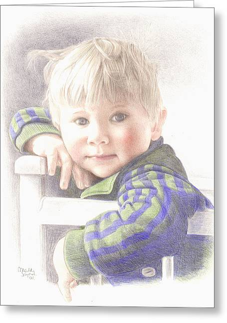 Toddlers Poster Greeting Cards - Little Mischief Greeting Card by Maddy Swan