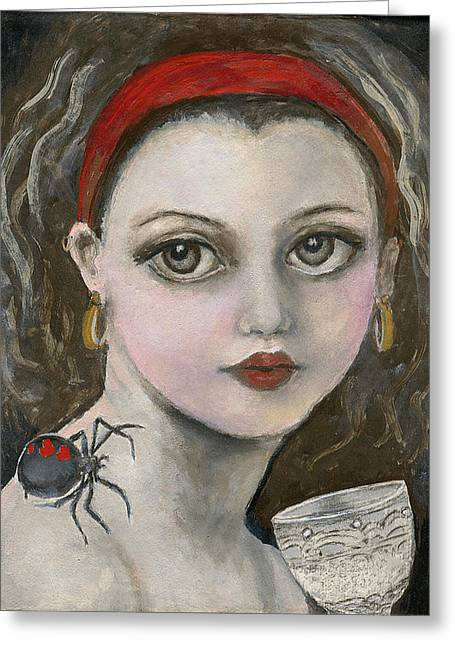Muffet Greeting Cards - Little Miss Muffet  Greeting Card by Annora Anne