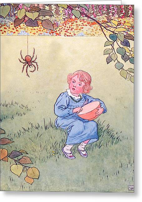 Muffet Greeting Cards - Little Miss Muffet Greeting Card by Leonard Leslie Brooke