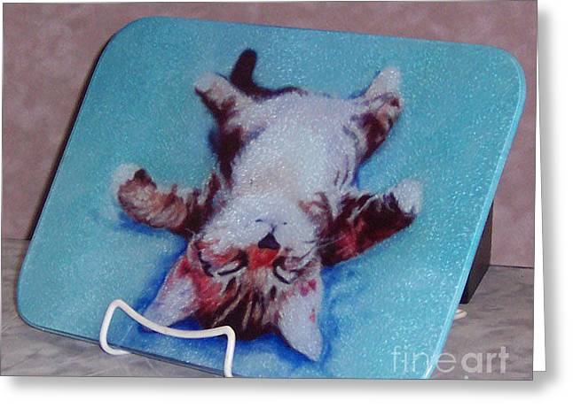 Animal Glass Greeting Cards - Little Napper cutting and serving board Greeting Card by Pat Saunders-White