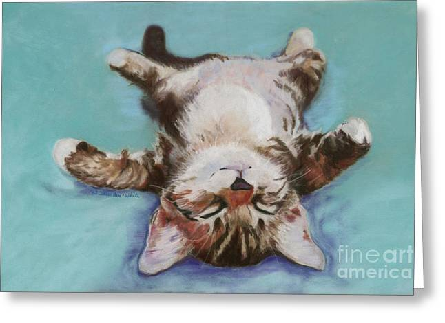 Turquoise Pastel Greeting Cards - Little Napper  Greeting Card by Pat Saunders-White