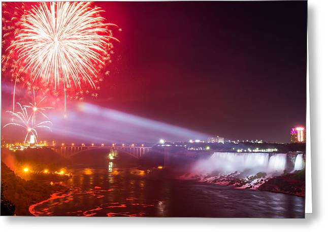 Recently Sold -  - Pyrotechnics Greeting Cards - Little Niagara Falls Fireworks Greeting Card by James Wheeler