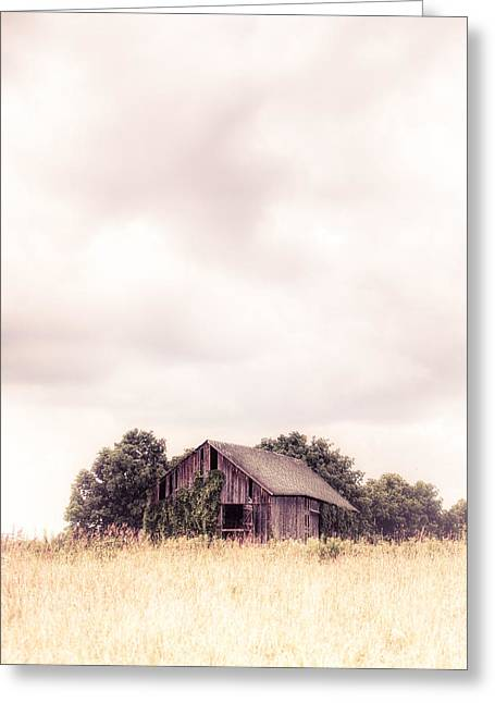 Minimalist Landscape Greeting Cards - Little Old Barn in the Field - Ontario County New York State Greeting Card by Gary Heller