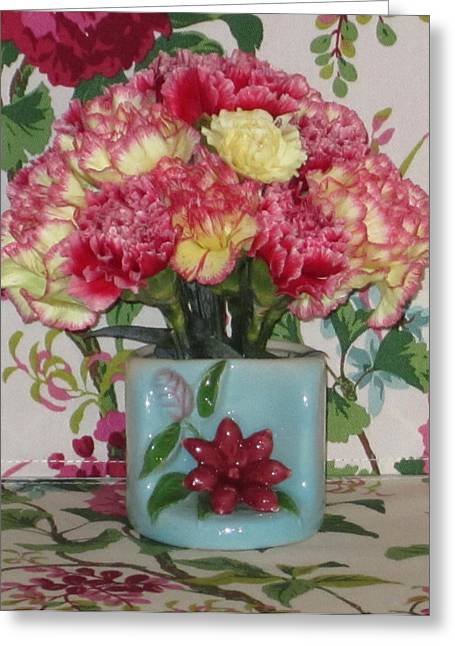 Ceramic Glazes Greeting Cards - Little Old Vase and Carnations Greeting Card by Good Taste  Art