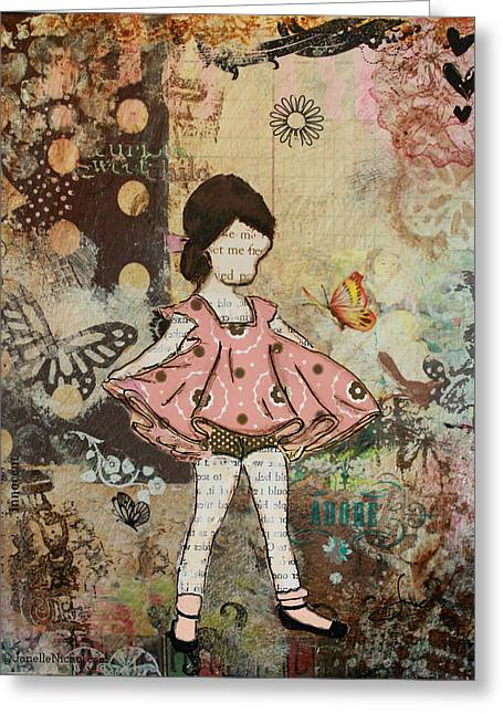 Girls Mixed Media Greeting Cards - Little One Mixed Media folk art of whimsical Little Girl Greeting Card by Janelle Nichol