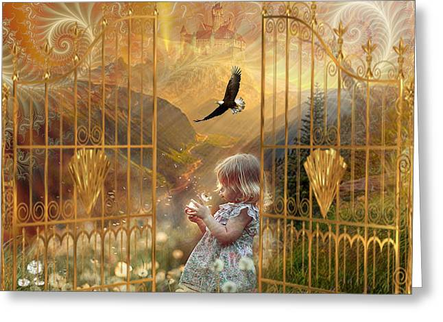 Kingdom Of Heaven Greeting Cards - Little ones welcome Greeting Card by Dolores Develde