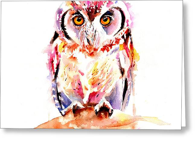 Nocturnal Animal Print Greeting Cards - Little Owl Greeting Card by Isabel Salvador