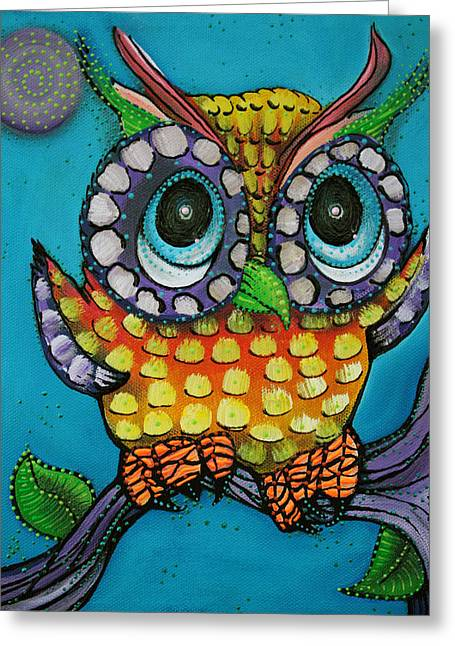 Colorful Owl Greeting Cards - Little Owl Greeting Card by Laura Barbosa