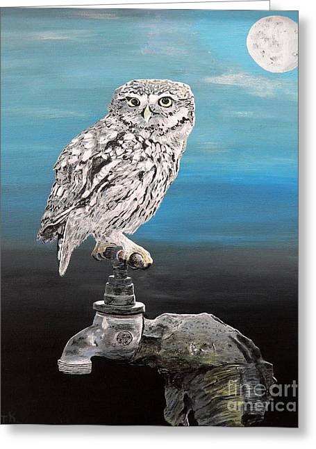 Little Owl On Tap Greeting Card by Eric Kempson