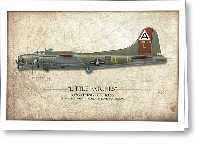 Fortress Greeting Cards - Little Patches B-17 Flying Fortress - Map Background Greeting Card by Craig Tinder