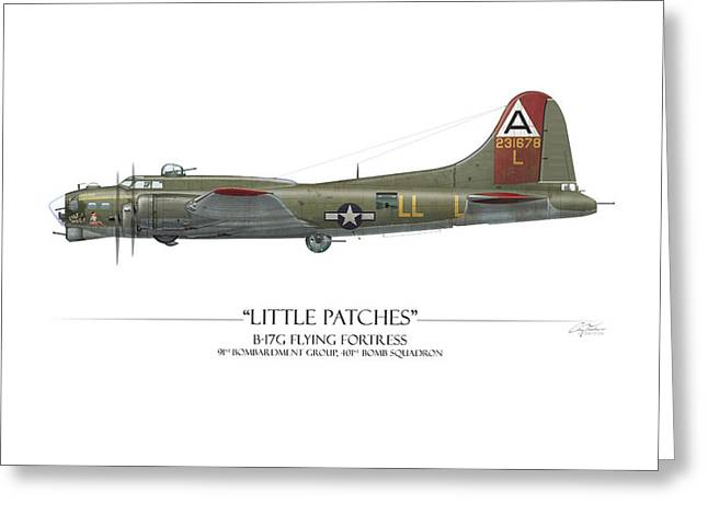 Fortress Greeting Cards - Little Patches B-17 Flying Fortress - White Background Greeting Card by Craig Tinder