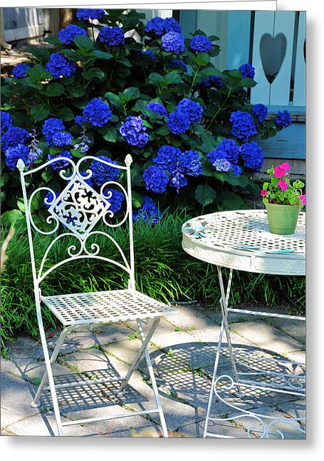 Garden Flowers Photographs Greeting Cards - Little Patio Chair Greeting Card by Jan Amiss Photography