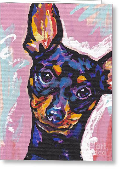 Dog Portraits Greeting Cards - Little Pin Greeting Card by Lea
