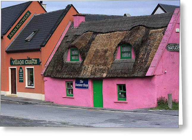 Thatch Greeting Cards - Little Pink Cottage Greeting Card by Aidan Moran