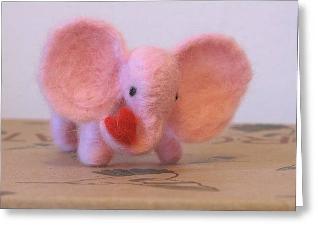 Little Sculptures Greeting Cards - Little Pink Elephant with Heart Greeting Card by Maria Joy
