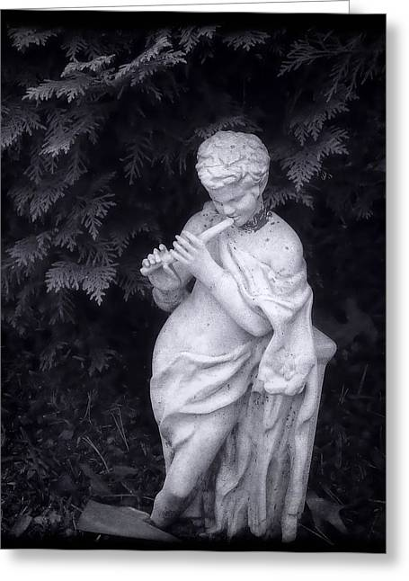 Garden Statuary Greeting Cards - Little Pipe Player Greeting Card by Louise Kumpf