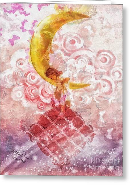 Glowing Mixed Media Greeting Cards - Little Princess Greeting Card by Mo T