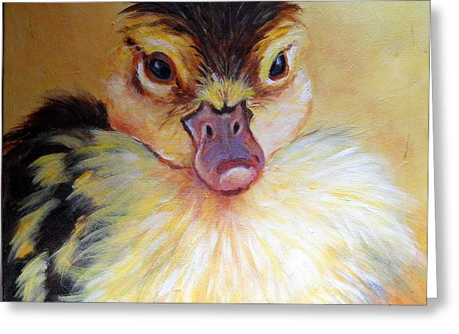 Baby Mallards Paintings Greeting Cards - Little Quacker Greeting Card by Lynda  Cook