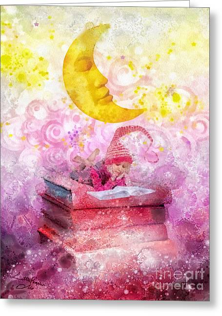 Imagination Mixed Media Greeting Cards - Little Reader Greeting Card by Mo T