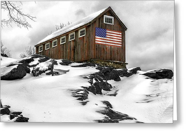 Winter Scenes Rural Scenes Greeting Cards - Little Red Barn at Greyledge Farm Greeting Card by Thomas Schoeller