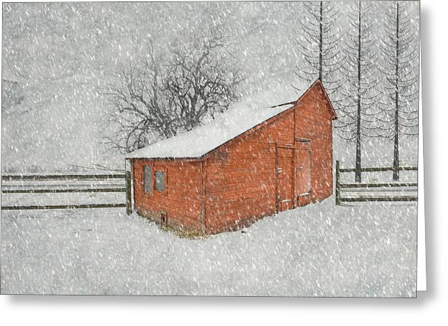 Red Barn Greeting Cards - Little Red Barn Greeting Card by Juli Scalzi