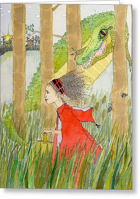 Children Story Book Digital Greeting Cards - Little Red Greeting Card by Bethany Myers