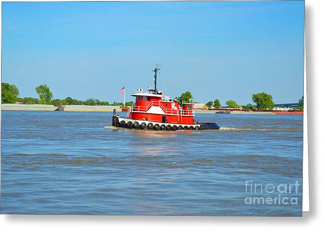 Barges Greeting Cards Greeting Cards - Little Red Boat on the Mighty Mississippi Greeting Card by Alys Caviness-Gober