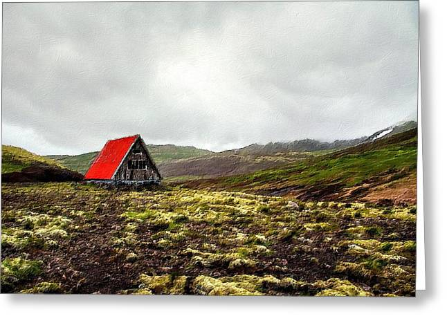 Little Red Cabin Greeting Card by Florian Rodarte
