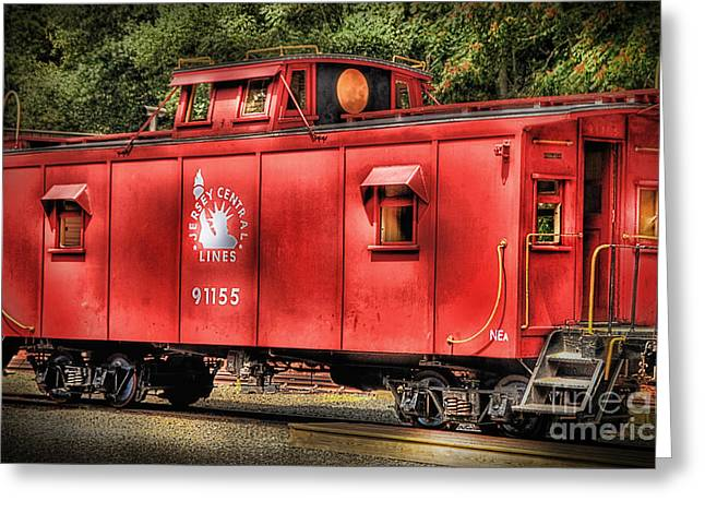 Caboose Photographs Greeting Cards - Little Red Caboose Greeting Card by Arnie Goldstein