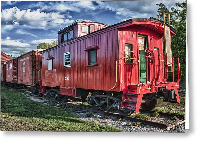 Guy Whiteley Greeting Cards - Little Red Caboose Greeting Card by Guy Whiteley