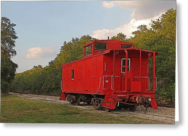 Little Red Caboose Greeting Card by HH Photography of Florida