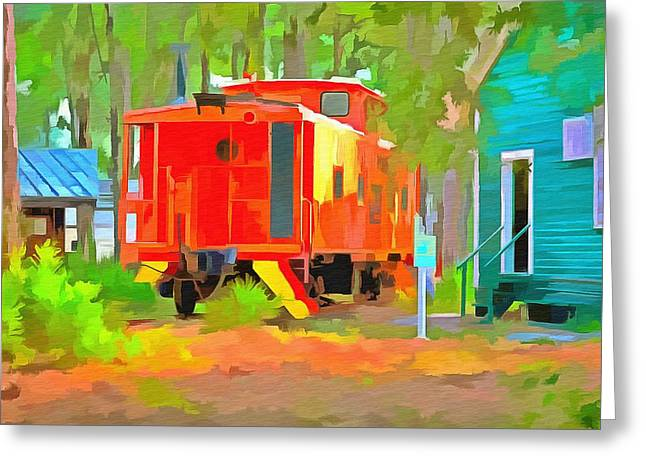 Caboose Paintings Greeting Cards - Little Red Caboose  Greeting Card by L Wright