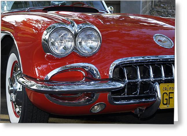 1960 Greeting Cards - Little Red Corvette Greeting Card by Bill Gallagher