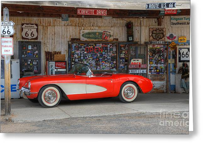 Hackberry Greeting Cards - Little Red Corvette Route 66 Greeting Card by Bob Christopher